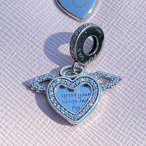 PANDORA Heart and Angel Wings Dangle